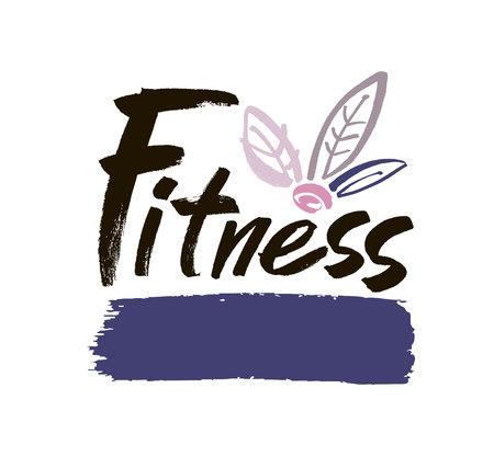yogi: Fitness club concept logo design. Elegant hand lettering for your design. Modern brush calligraphic style. Vector