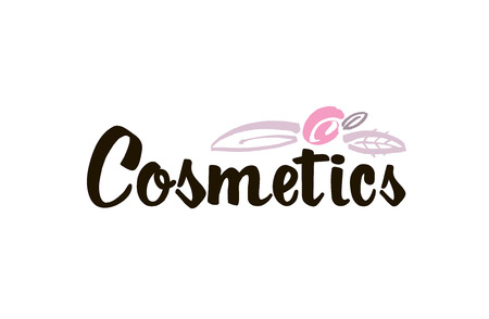 Fashion lettering logo with stylized flowers and leaves. Brush stroke. Vector