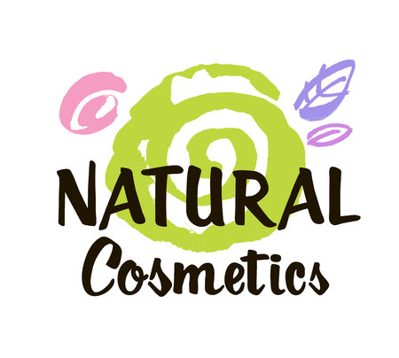 Natural cosmetics logo design vector template. Abstract decorative spiral and stylized leaves. Brush design Illustration