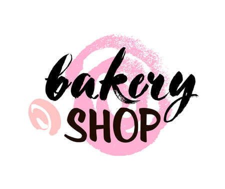 Bakery Shop lettering, inscription. Calligraphy lettering typography badge. Vector illustration with decorative element.