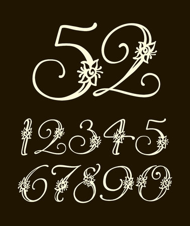 Vector handwritten calligraphic font. Calligraphy alphabet on a black background. Set of numbers for holidays, anniversaries, births