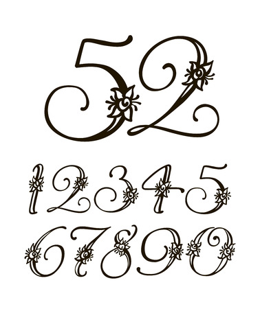 births: Vector handwritten calligraphic font. Calligraphy alphabet on a white background. Set of numbers for holidays, anniversaries, births Illustration