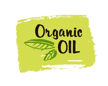 Organische oliehand getrokken etiket geïsoleerde vectorillustratie. Natuurlijke schoonheid, gezonde levensstijl, eco-spa, bio-verzorgingsingrediënt. Biologische olie-insigne, pictogram, logo voor natuurlijke cosmetica. Eco-vriendelijk concept. Vector
