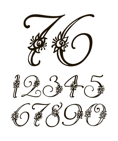 A Vector handwritten calligraphic font. Calligraphy alphabet on a white background. Set of numbers for holidays, anniversaries, births.