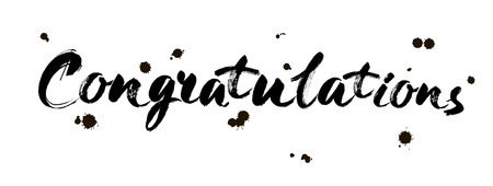Congratulations calligraphy. Hand written text. Brush modern Lettering. Calligraphic banner. Illustration