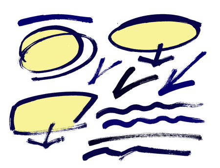 bubble pen: Set of hand drawn grunge design elements, frames, speech bubbles, boxes and brush strokes.