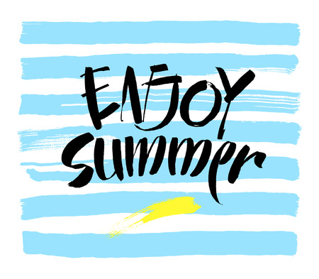 smudge: Inscription Enjoy Summer. Great summer gift card. Vector illustration on white background. Fashionable calligraphy.