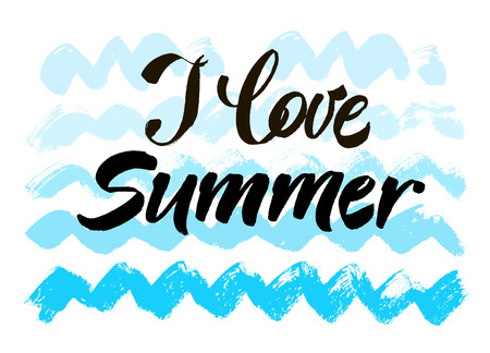 italics: I love summer concept. Modern brush calligraphic style. Creative typography grunge summer poster. Modern brush lettering print. Vector