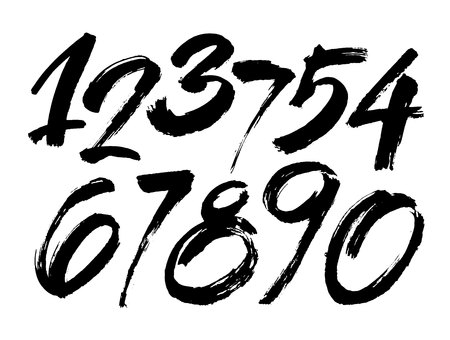 Set of calligraphic acrylic or ink numbers in brush lettering