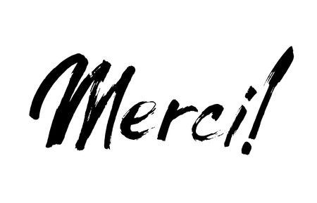 Thank you lettering in french. Merci. Hand drawn vector phrase. Handwritten modern brush calligraphy for invitation and greeting card Illustration