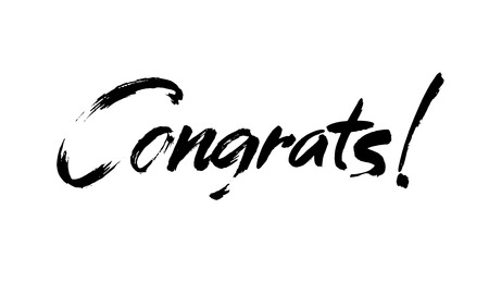 Congrats hand written lettering for congratulations card, greeting card, invitation, poster and print. Modern brush calligraphy. Isolated on background. Vector illustration.