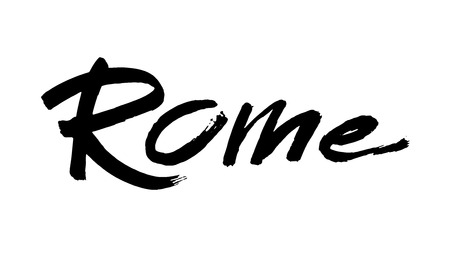 Rome. Modern brush calligraphic style. Vector calligraphy. Typography poster. Usable as background. Handwritten modern calligraphy. Brush lettering.