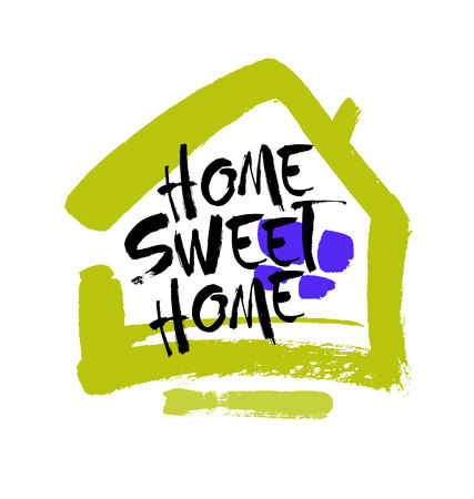 Hand lettering typography poster.Calligraphic quote Home sweet home.For housewarming posters, greeting cards, home decorations.Vector illustration. Brush lettering composition.
