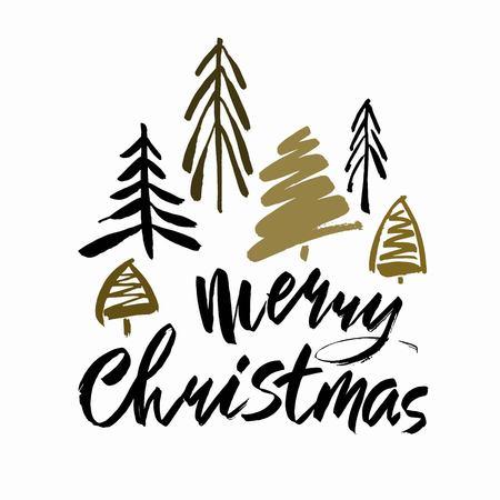 Frohe Weihnachten Text . Schwarze Bürstenkalligraphie auf weißem Hintergrund mit abstrakten Weihnachtsbäumen Vektorgrafik