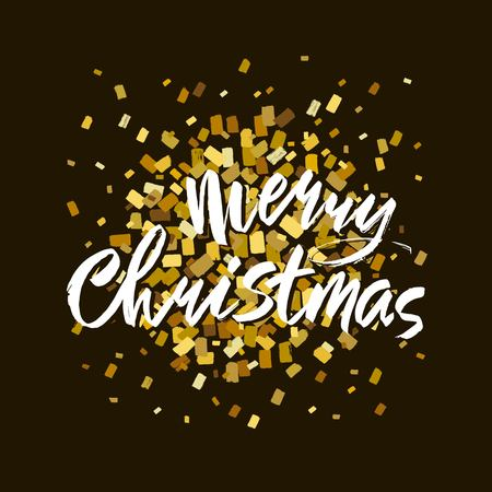 Merry Christmas text. Gold and white brush calligraphy on black blackbackground with abstract smears and blots