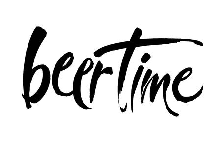 Beer Time. Time to Drink lettering. Vector illustration for web, poster, invitation to party. Handwritten modern brush lettering on white background.
