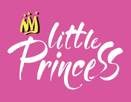 Little princess modern hand lettering. Vector white brush calligraphy quote. Modern calligraphy on a pink background.