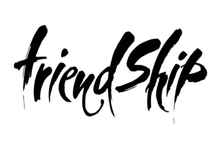 FRIENDSHIP. Vector typographic design. Inspirational quotes. Hand drawn illustration. Lettering poster. Modern brush calligraphy. Illustration