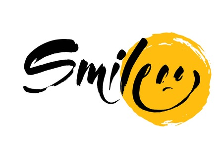 Smile hand-drawn lettering of a phrase Smile. Unique typography poster T-shirt design. Inspirational quote.