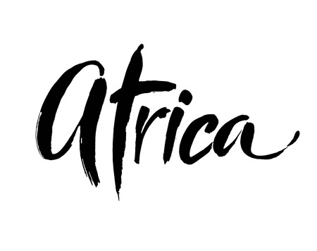 Africa word hand drawn lettering on a white background. Modern brush calligraphy. Vector