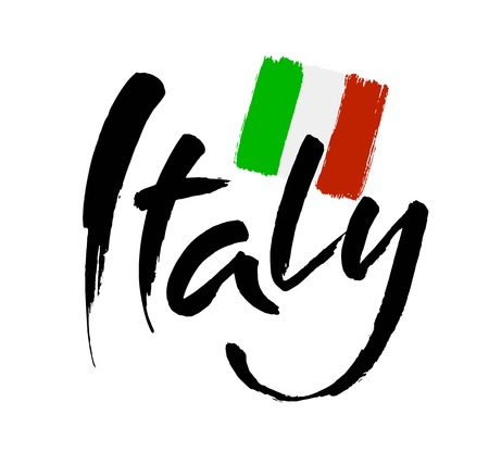 Italy hand lettering. Name of country. Ink illustration. Modern brush calligraphy. Isolated on white background. Vector Illusztráció