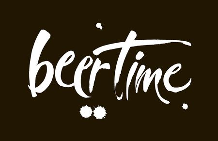 Beer Time.Illustration for web, poster, invitation to party. Handwritten modern brush lettering on black background.