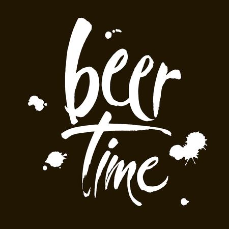 Beer Time. Time to Drink lettering. Vector illustration for web, poster, invitation to party. Handwritten modern brush lettering on black background. Ilustrace