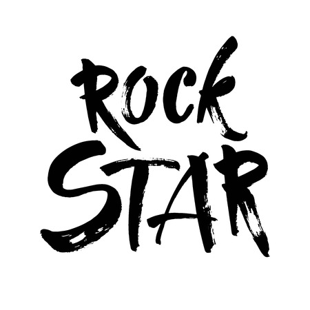 Rock star postcard. Ink illustration. Modern brush calligraphy. Isolated on white background. Vector