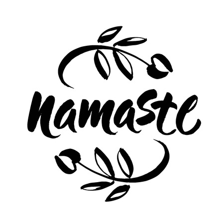 Hand drawn namaste card. Hello in hindi. Ink illustration. Hand drawn lettering background. Isolated on white background. Positive quote. Modern brush calligraphy. Vector