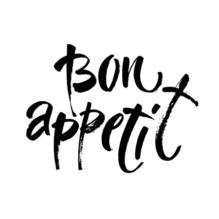 Bon Appetit hand lettering, vintage brush typography, custom writing isolated on white background. Vector