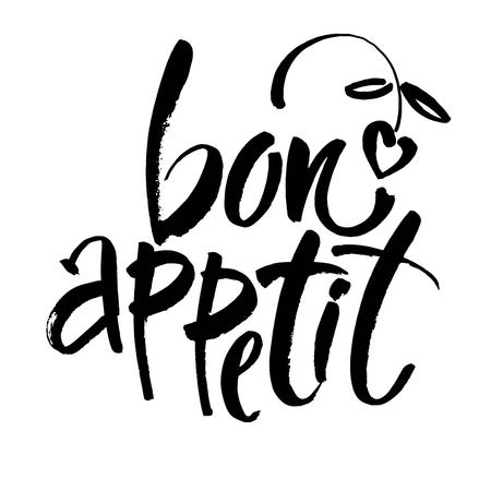 Bon appetit card. Hand drawn lettering background. Ink illustration. Modern brush calligraphy. Isolated on white background. Vector  イラスト・ベクター素材