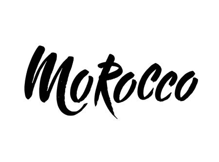 Morocco hand drawn ink brush lettering of the country. Morocco hand drawn vector stock illustration. Modern brush ink. Isolated on white background.