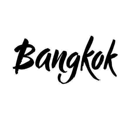 City logo isolated on white. Black label or logotype. Vintage badge calligraphy in grunge style. Ink hand lettering. Modern brush calligraphy. Great for t-shirts or poster. Bangkok, Thailand