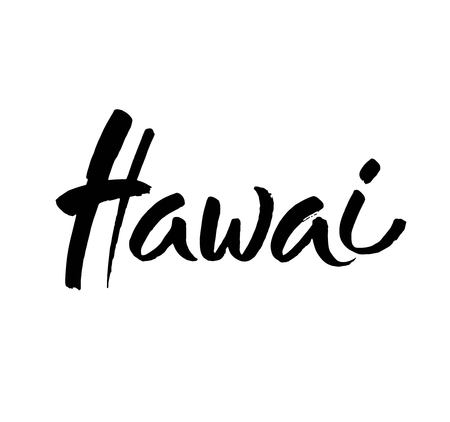 Hawai hand drawn ink calligraphy brush lettering on white background.