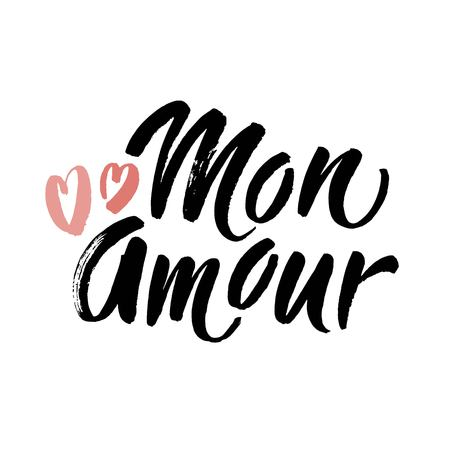 Mon Amour lettering, hearts illustration. My Love in French hand drawn calligraphy quote. Valentines day. Hand drawn modern brush lettering. Vector