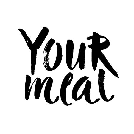 Enjoy your meal. Hand drawn lettering phrase isolated on white background. Design element for poster, card. Vector