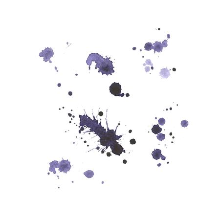Set of blue hand made blots and ink splashes. Abstract elements for design in grunge style. Vector