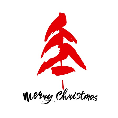 Merry Christmas text. Black and red brush calligraphy on white vector background with abstract christmas tree