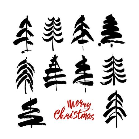 Merry Christmas text. Black and red brush calligraphy on white vector background with abstract christmas trees Stock Illustratie