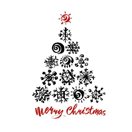 Merry Christmas text. Black brush calligraphy on white vector background with abstract christmas tree Stock Illustratie