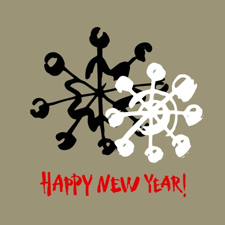 Happy new year text. White snowflake on gray background. White, black and red brush calligraphy. Christmas vector card