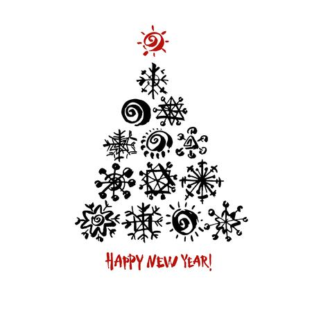 Happy new year text. Black snowflake Christmas tree on white background. White and red brush calligraphy. Christmas vector card