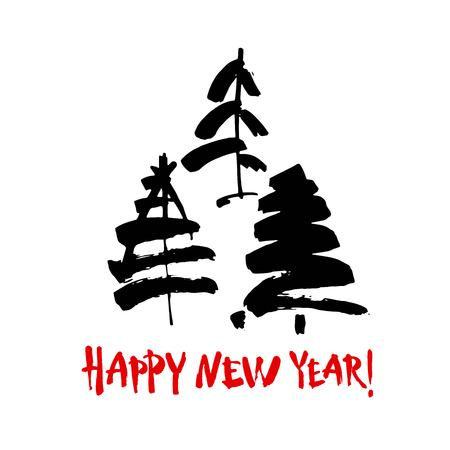 Happy new year text. Black brush calligraphy on white vector background with abstract christmas trees