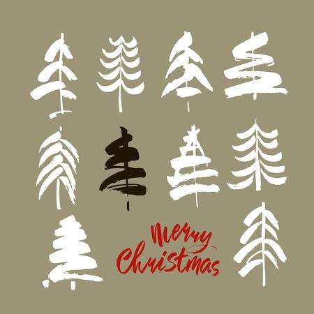 Merry Christmas text. Black, white and red brush calligraphy on gray vector background with abstract christmas trees Stock Illustratie