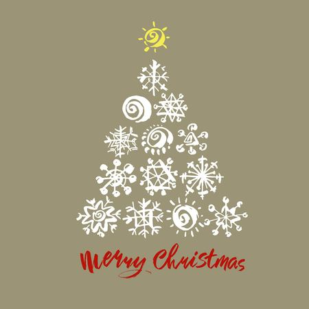 Merry Christmas text. Black, white and red brush calligraphy on gray vector background with abstract christmas tree Stock Illustratie