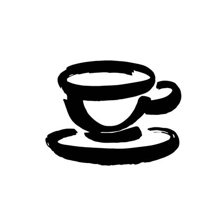 Coffee and tea cups symbols for fast food or restaurant design. Modern brush ink. Isolated on white background. Vector