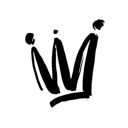 Crown doodle icon. Modern brush ink. Isolated on white background.