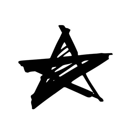 Star. Hand drawn paint object for design use. Abstract brush drawing. Vector art illustration grunge star. Isolated on white background.