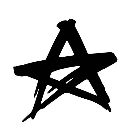 Star. Hand drawn paint object for design use. Abstract brush drawing. Vector art illustration grunge star