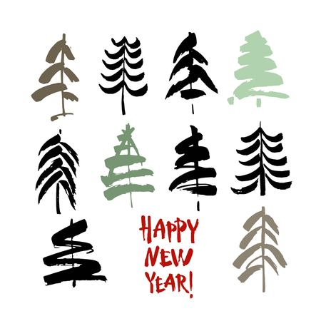 Happy new year text. Black and color brush calligraphy on white vector background with abstract christmas trees